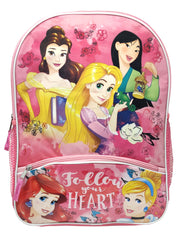 "Disney Princesses Mulan Ariel Belle 16"" Backpack Heart w/ Zippered Pencil Case"