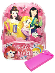 "Disney Princess Backpack 16"" Mulan Ariel w/ Lower Pocket & Pencil Case"