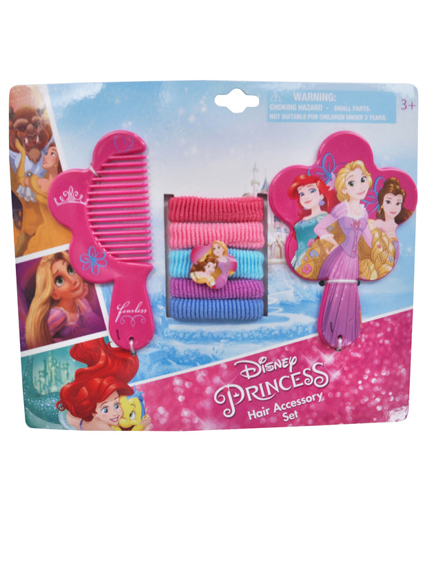 Disney Princesses 7Pc Hair Ties Set w/ Mirror & Comb