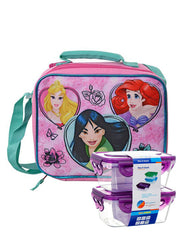 Disney Princess Insulated Lunch Bag Shoulder Strap Mulan w/ 2Pc Food Containers