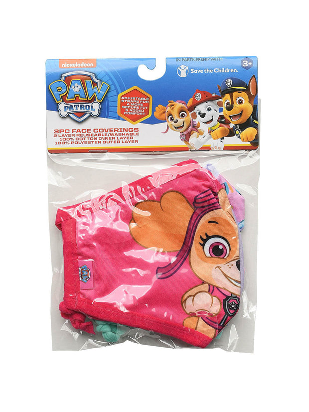 Girls Paw Patrol Skye & Everest 3 Pack Reusable Face Masks Funday Hearts Pink