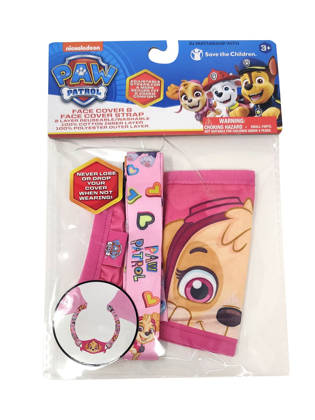 Paw Patrol Girls Kids Skye 4 Pack Face Masks Reusable Hearts w/ Pink Strap Set