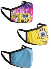 Kids Spongebob Patrick Reusable Face Masks 3 Pack Rainbow Krabby Patty