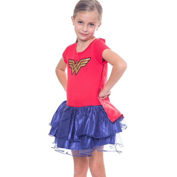 Girls Wonder Woman Halloween Costume Dress w/ Cape Size XL (14/16)