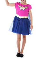 Girls Wonder Woman Dress Costume With Detachable Superhero Cape