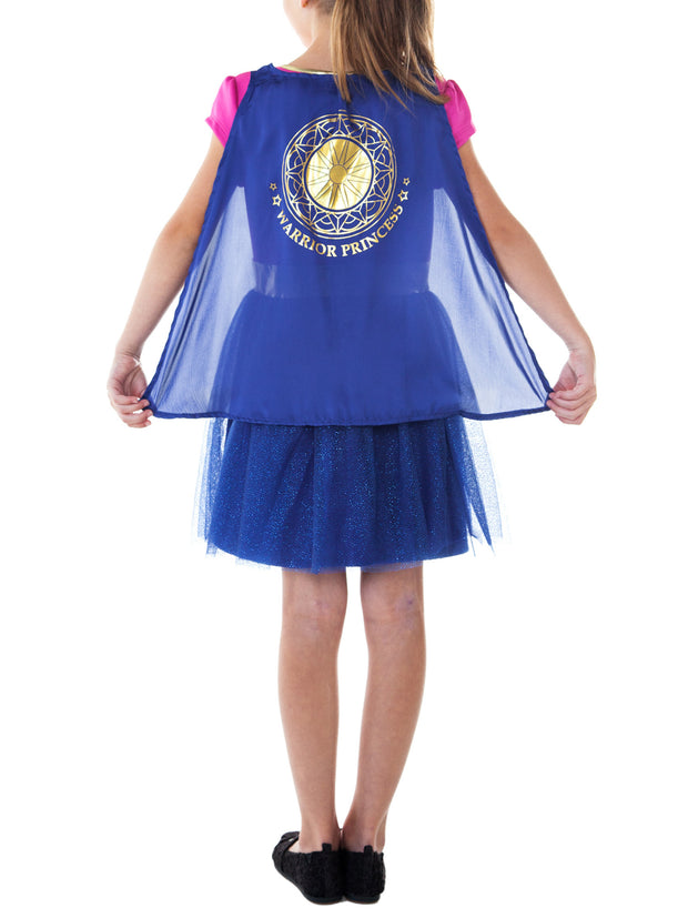 Girls Wonder Woman Warrior Princess Costume Dress w/ Cape Halloween
