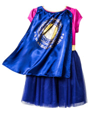 Girls Wonder Woman Warrior Princess Costume Dress w/ Cape