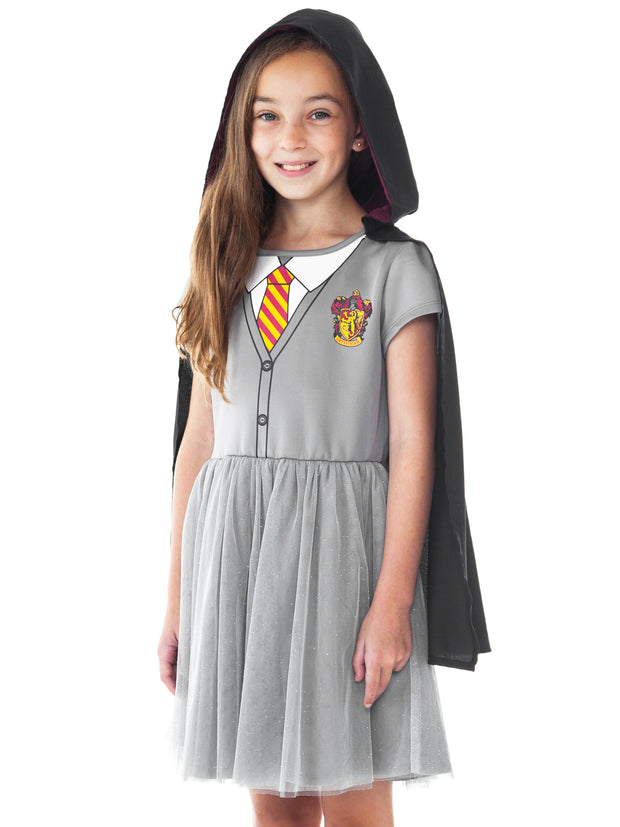 Girls Harry Potter Hermione Costume Dress w/ Cape Cosplay