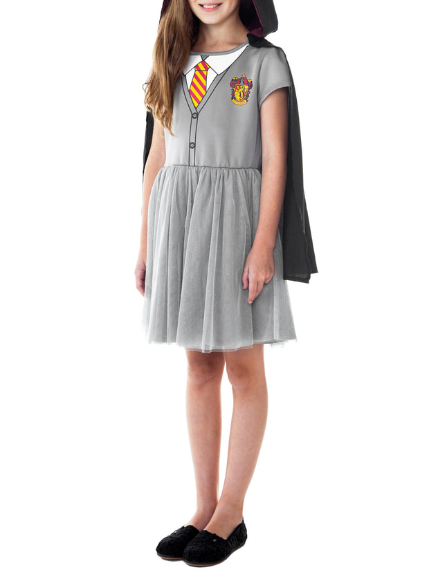 Girls Harry Potter Hermione Costume Dress w/ Cape Cosplay Pretend Play