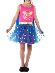 Girls Wonder Woman Halloween Costume Tank Dress w/ Cape Pink Blue