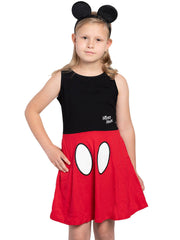 Disney Mickey Mouse Girls Costume Dress with Ears Headband 2-Piece Set