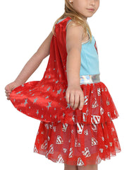 Girls Supergirl Costume Dress Cape Halloween Cosplay Superhero 2-Way Sequin