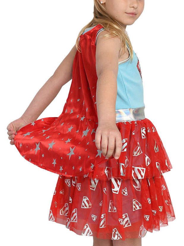 Girls Supergirl Costume Dress Cape Hero Cosplay Superhero 2-Way Sequin