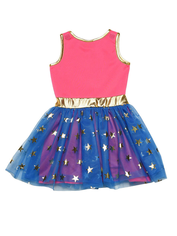 Girls Wonder Woman Costume Dress Cape Pink Gold Blue Cosplay