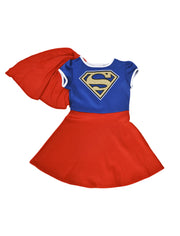 Supergirl Girls Costume Dress with Cape Playwear