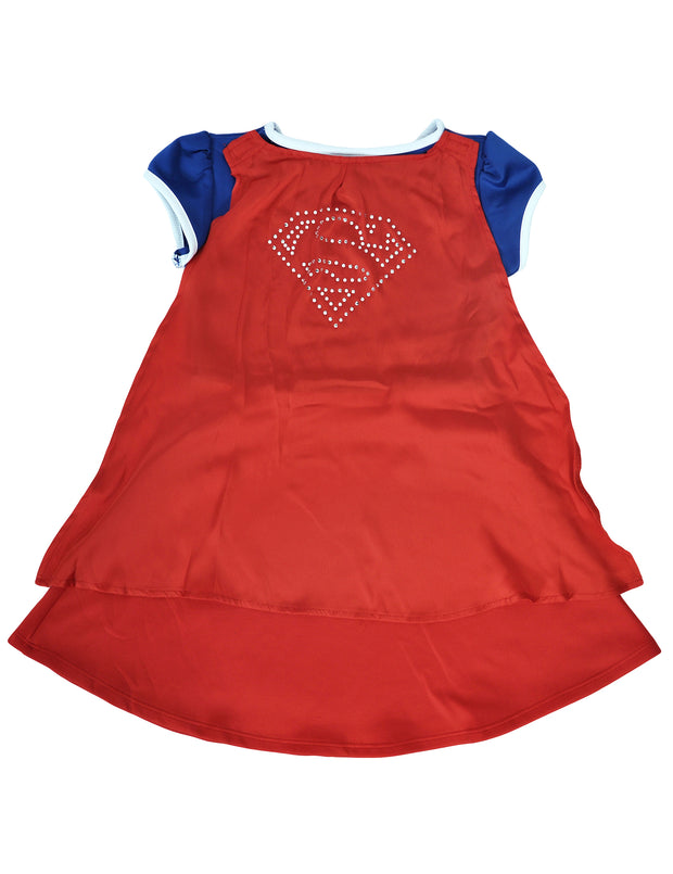 Supergirl Girls Costume Dress with Cape