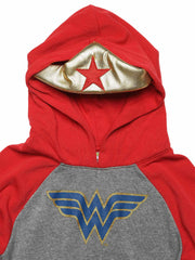 Girls Wonder Woman Sweatshirt Hoodie with Gold Tiara Grey Red