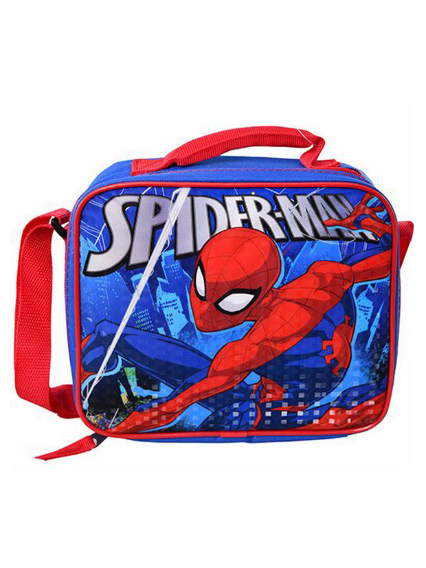 Boys Spider-Man Insulated Lunch Bag Web Sling With Shoulder Strap Red Blue