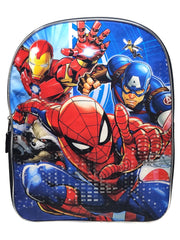 "Captain America Iron Man Raccoon 15"" Backpack w/ Spider-Man Water Bottle 16oz"
