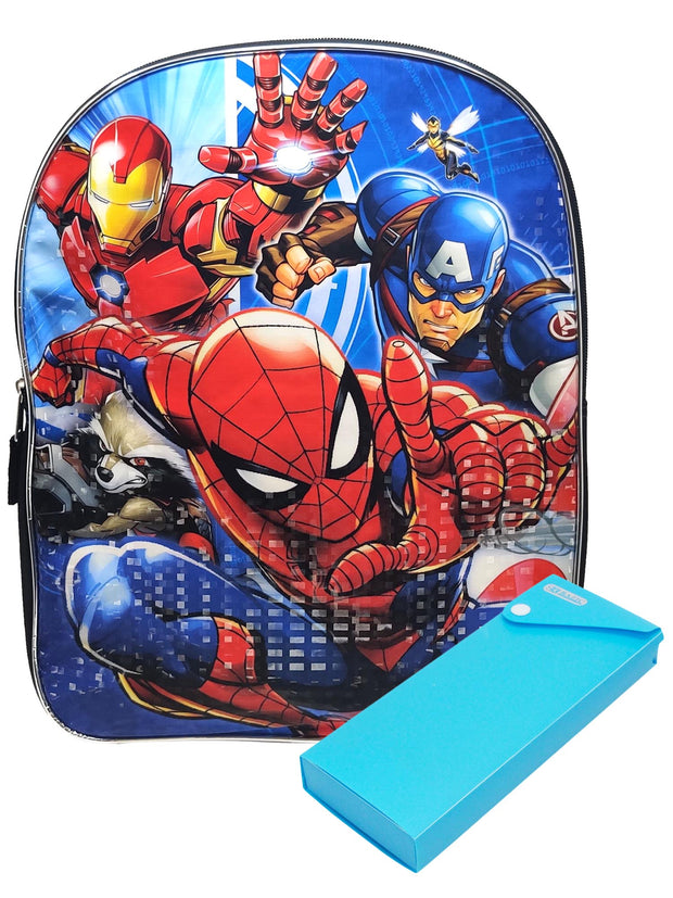 Marvel Spider-Man Captain America Backpack w/ Sliding Pencil Case