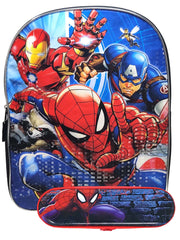"Boys Marvel Spider-Man Backpack 15"" Iron Man  w/ Tin Zipper Pencil Case Set"