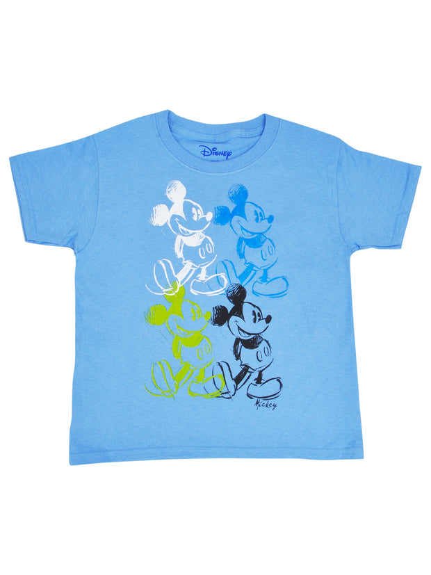 Youth Boys Mickey Mouse Sketch T-Shirt Blue Short Sleeve