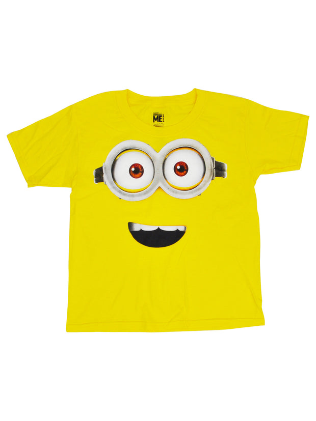 Youth Boys Minions Face Halloween Costume T-Shirt Yellow Short Sleeve