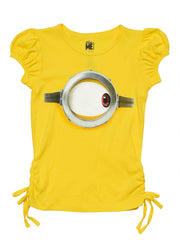 Girls Minions T-Shirt Smiling Face Side Tie Yellow Top
