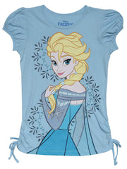 Girls Disney Frozen  Elsa Glitter Side Tie T-Shirt Size L (10/12)