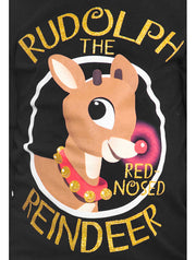 Girls Rudolph The Red-Nosed Reindeer Christmas T-Shirt Black (Size Large)