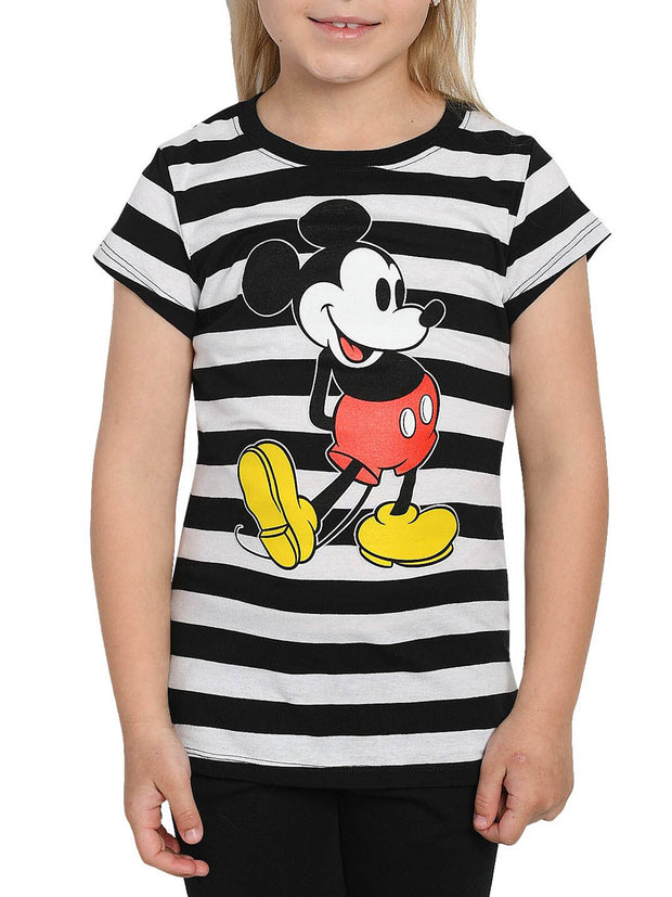 Disney Girls Mickey Mouse T-Shirt Front Back Graphic Black White Stripes