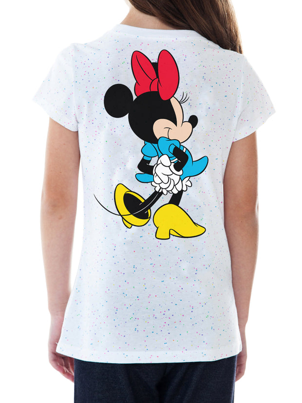 Disney Girls Minnie Mouse T-Shirt Front Back Graphic Confetti