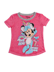 Girls Minnie Mouse Unicorn T-Shirt Burnout Pink Top