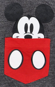 Girls Disney Mickey Mouse Pocket T-Shirt Gray Two-Tone Sleeves