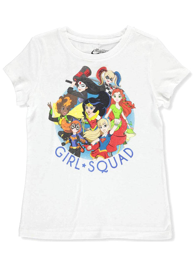 DC Comics Girls Squad Superheroes T-Shirt Wonder Woman Supergirl Batgirl White
