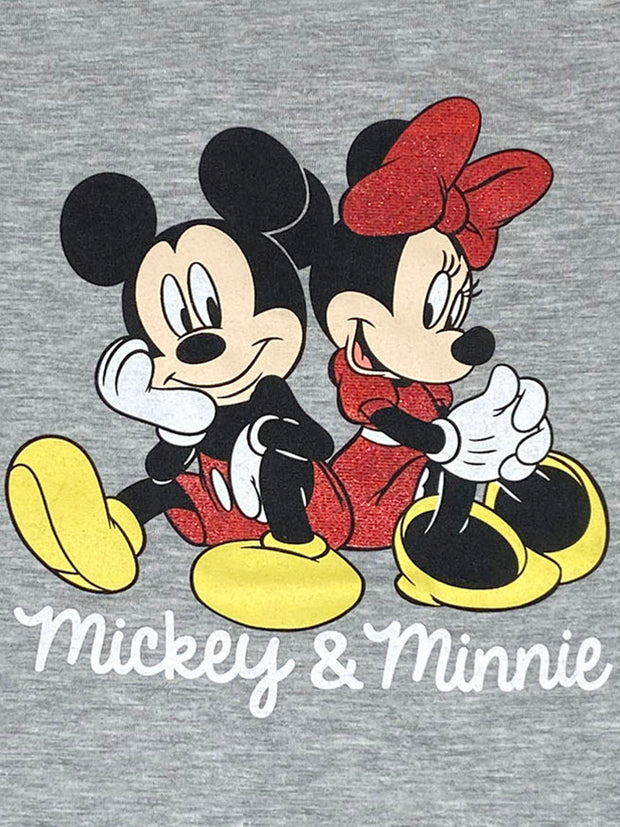 Disney Girls Mickey & Minnie Mouse Couple Cap Sleeves T-Shirt Heather Gray