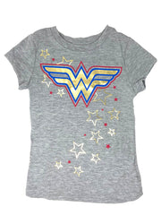 Girls DC Comics Wonder Woman Logo T-Shirt Cap Sleeves Heather Gray Stars