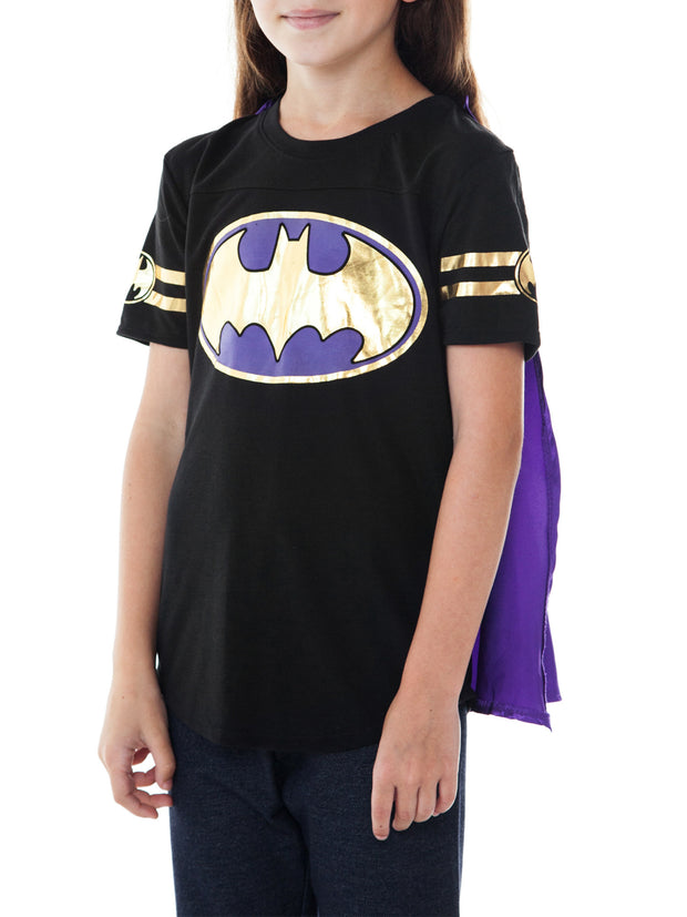 Superhero Girls Batgirl Costume T-Shirt with Cape Size Medium
