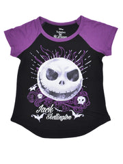 Girls Jack Skellington T-Shirt Short Sleeve Black Purple
