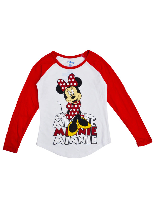 Girls Minnie Mouse Raglan Shirt - Long Sleeve White Red