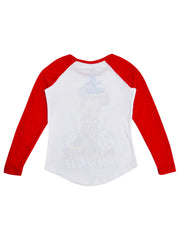 Disney Girls Minnie Mouse Raglan Shirt Long Sleeve White Red (Size Large Only)