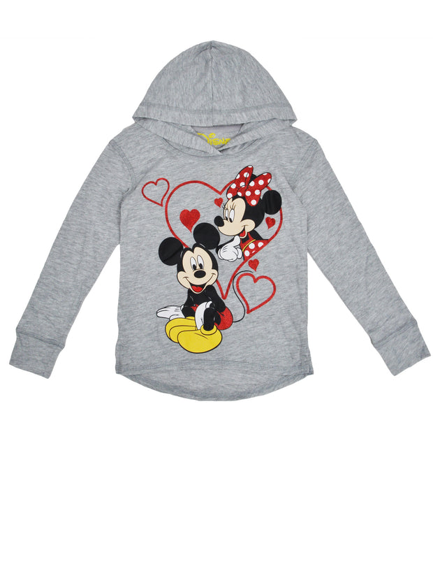 Girls Mickey & Minnie Mouse Long Sleeve Hooded Shirt Size S (6/6X)