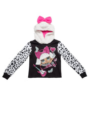 L.O.L. Surprise! Hoodie Girls Diva Glam Pullover Sweatshirt Black White