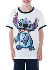 Youth Boys Stitch Ringer T-Shirt White Short Sleeve