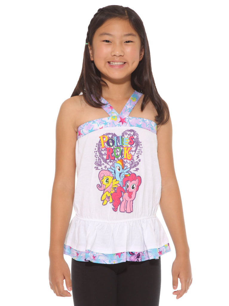 My Little Pony Girls Ponies Rock White Glitter Accent Tank Top
