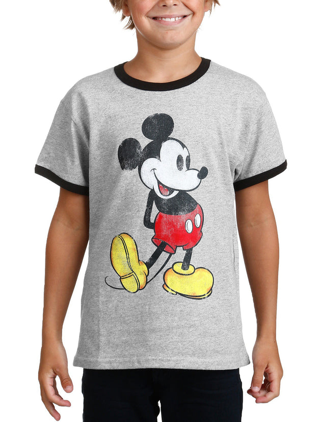 Youth Boys Mickey Mouse Classic Ringer T-Shirt Gray