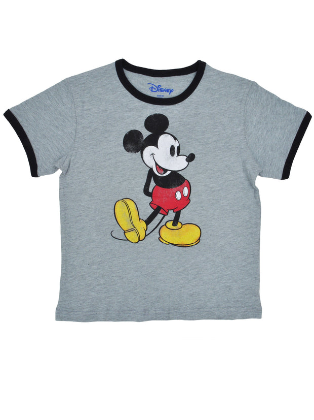 Youth Girls Mickey Mouse Retro Ringer T-Shirt Gray