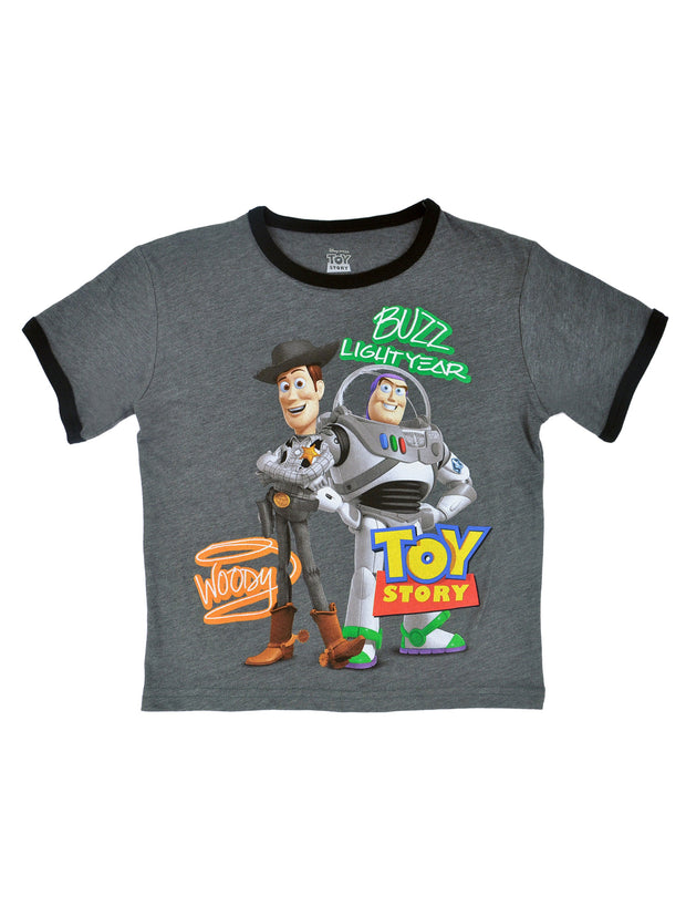 Boys Toy Story Ringer T-Shirt Grey Short Sleeve Woody Buzz Lightyear