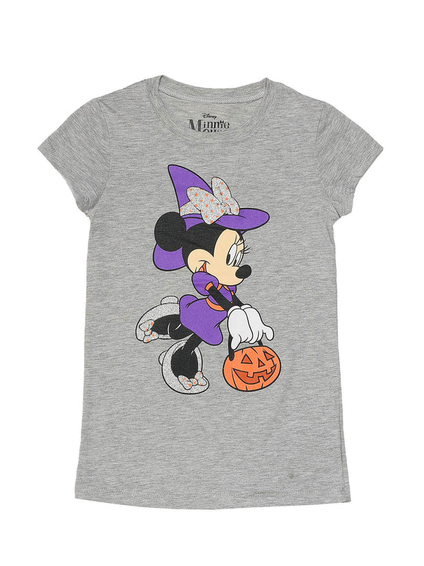 Minnie Mouse Girls Witch Halloween T-Shirt w/Cap Sleeves Gray
