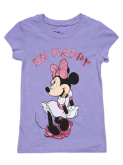 Girls Minnie Mouse Be Happy T-Shirt Glitter Purple